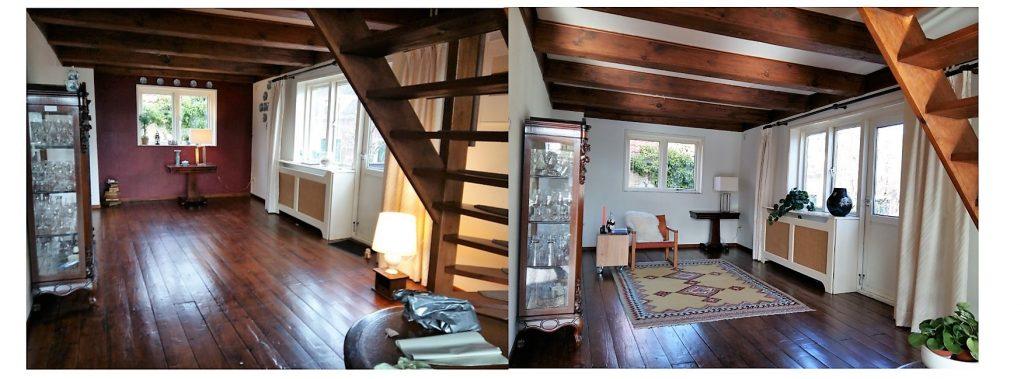woonkamer voor en na verkoopstyling door via andrea interieur & design