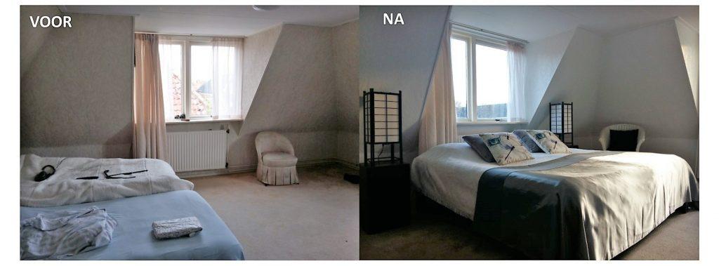 slaapkamer voor en na verkoopstyling door via andrea interieur & design